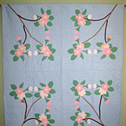 Vintage Appliqued &quot;Cherry Blossom&quot; Quilt