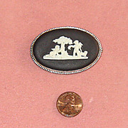 Black Wedgwood Pottery and Sterling Cameo Pin