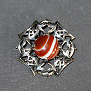 Scottish Sterling Brooch with Red Banded Agate