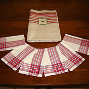 Czech Linen Tablecloth and 6 Napkins with Red Border