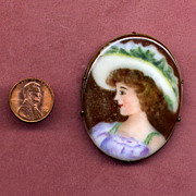 Hand-Painted Porcelain Pin with Pretty Lady