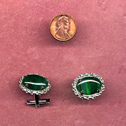 Sterling Silver Cufflinks with Translucent Green Stones