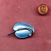 Denmark Sterling and Blue Enamel Abstract Leaf Pin