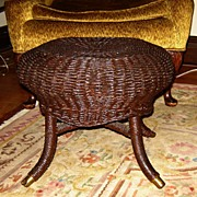 SALE Round Natural Wicker Footstool