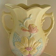 "REDUCED Hull Magnolia Vase 6 1/4""  Pink Yellow Matte"