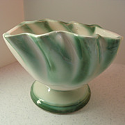 Regal Ruffled Planter  Green and White