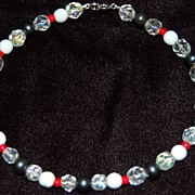 """Little Fling""  Dainty Anklet~Red & Steel Blue Vintage Beads~Perfect for Skinny Jean"