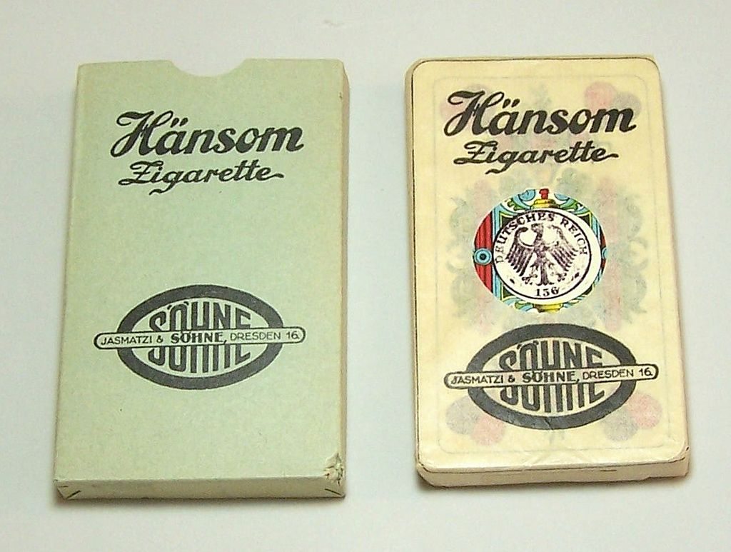 Flemming-Wiskott A.G. Skat Playing Cards, Saxon Pattern, H&auml;nsom Zigarette Adv., c.1930