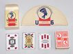 German Miniature Schsisches Doppelbild (Saxon Pattern) Skat Playing Cards, Maker Unknown, Union Cigarettes Adv., w/ Card Holder, c.1935