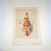 Society Magazine Bijou Portrait, �Kate Santley� w/ Playing Card Fashion, Hand Colored Lithogra