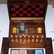 Victorian Walnut Games Compendium w/ Leather Game Boards, Steeplechase Game, Staunton-Type ...