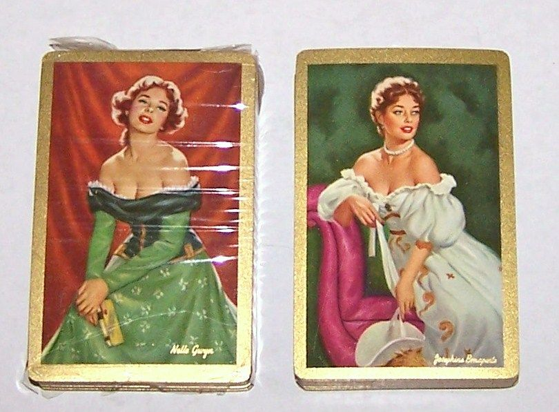 "2 Decks Arrco (Duratone) Glamour/Pin-Up Playing Cards, $25/ea., ""Josephine Bonaparte"" and ""Nelle Gwyn,"" Artist Unknown, c.1950s"
