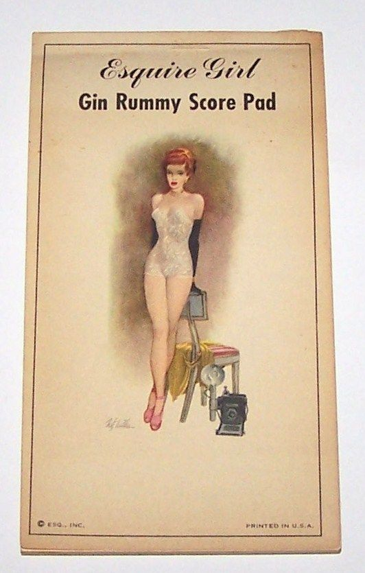 Esq., Inc. &quot;Esquire Girl Gin Rummy Score Pad,&quot; Fritz Willis Pin-Up Illustration (January 1948, Esquire Magazine Foldout), c.1948
