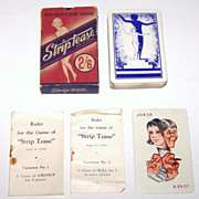 British Vintage Stiptease Card Game, Maker Unknown, c. 1930s