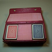 Music Box Playing Card Box, Cylinder Type, Swiss Mechanism, w/ Cards, c.1900