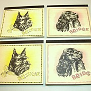 Set (4) Bridge Score Pads (Auction/Contract), Publisher Unknown, Scottish Terrier and Cocker S