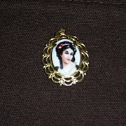 Limoges Portrait Pendant - Made in France