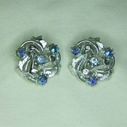 ART Silvertone Clip Earrings with Blue Rhinestones