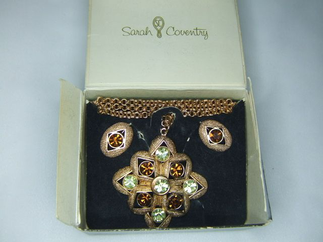 Sarah Coventry Starburst Necklace and Earrings in Box