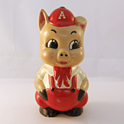 Adorable Vintage Pot Bellied Piggy Bank with Baseball Cap