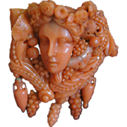 Antique Coral Carved Bacchus Brooch
