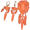 Antique Carved Coral Bacchus Brooch & Matching Coral Earrings