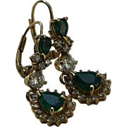 SALE Vintage Emerald and Diamond Earrings