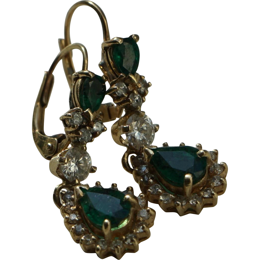 Vintage Emerald and Diamond Earrings