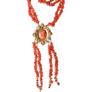 Georgian Carved Coral Necklace With Coral Cameo Pendant