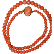 Victorian Coral Necklace With Cameo Clasp