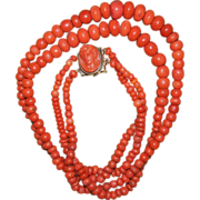 SALE Victorian Coral Necklace With Coral Cameo Clasp