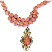 REDUCED Victorian Coral Necklace With Pendant