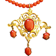 Victorian coral necklace with girandole coral pendant