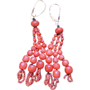 SALE Victorian Coral Tassel Earrings