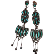 SALE Vintage Zuni Turquoise Earrings