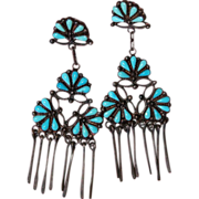 SALE Zuni Petit Point Floral Drop Earrings With Dangles