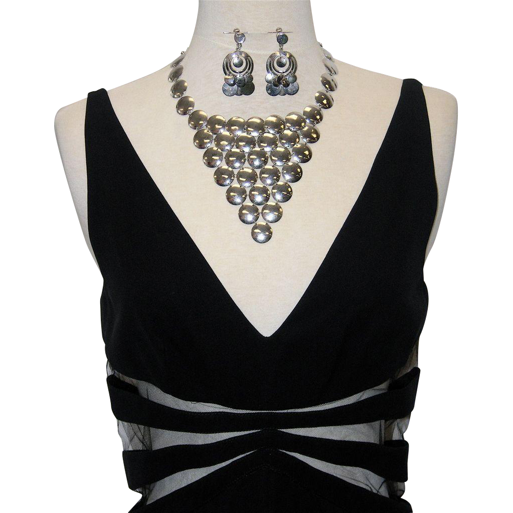Vendome 1960's-70's Silver Tone Disc Necklace & Hoop Earrings
