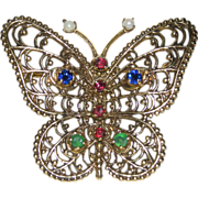 REDUCED 1950's Victorian Revival 14K Gold & Jewels Butterfly Brooch/Pin