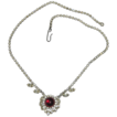 1950's Clear Rhinestone & Red Glass Cabochon Valentine's Necklace
