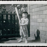 SALE 1949 Vintage B&W Photograph ~ Little Boy in Red Sox Baseball Uniform