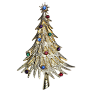 SALE RARE JJ Signed Rhinestone Christmas Tree Pin ~ Book Piece