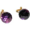 Vintage 1968 Purple Prism Crystal Ball Earrings