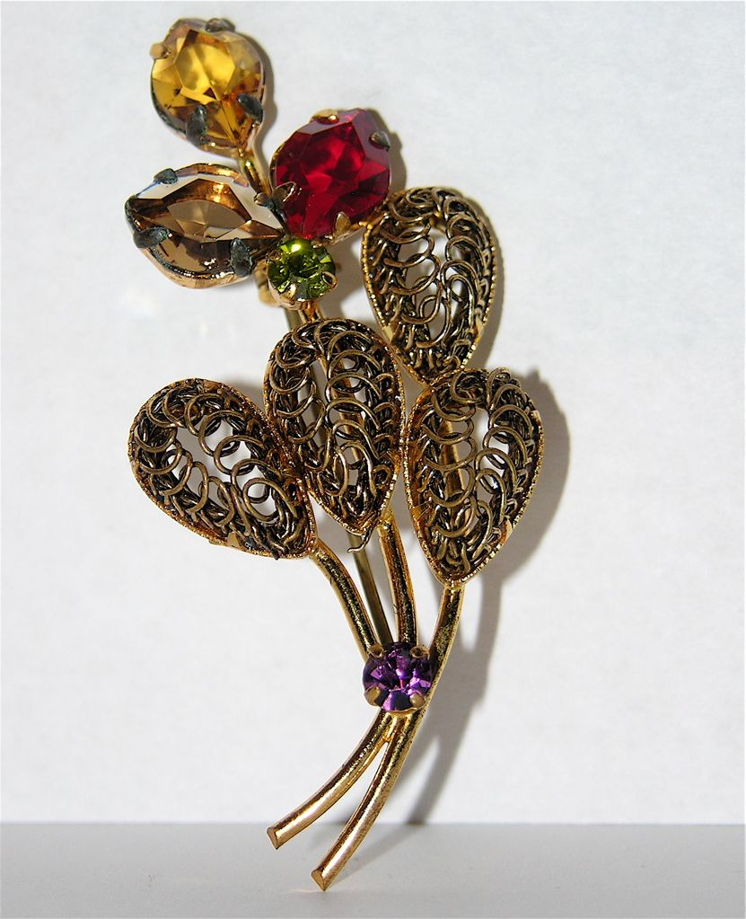 Austria 1960's Signed 3D Floral Rhinestone Brooch