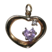 Vintage 14K Gold Heart ~ Amethyst & Diamond Pendant