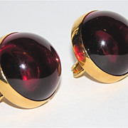 SALE Vendome 1960's Red Lucite Dome Earrings