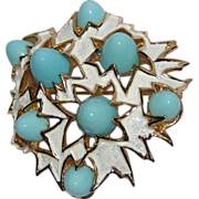 REDUCED Boucher 1960's Turquoise Glass Bullet Modernist Brooch