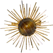 REDUCED Austria 1950's Tiger Eye Art Glass Atomic Starburst Brooch