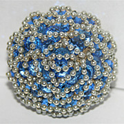 SALE Vendome Queen Anne's Lace Sapphire Blue Crystal & Pearl 3D Brooch