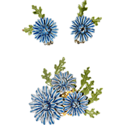 SALE Corocraft 1960's 3D Enamel Flower Brooch & Earring Set