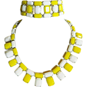 REDUCED Weiss 1950's Yellow & White Chicklet Glass Necklace & Bracelet ~ Pristine, Unworn Cond